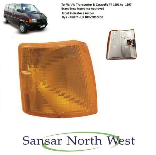 For VW Volkswagen Transporter T4 - Drivers Front Indicator Amber O/S RIGHT 91>97